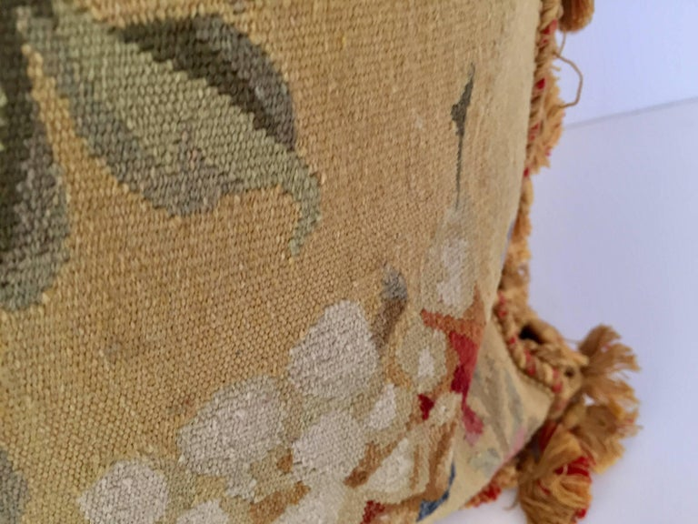 Aubusson Style Large Tapestry Decorative Pillow In Good Condition For Sale In North Hollywood, CA