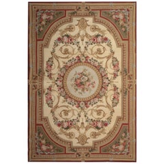 Aubusson Style Rug Magnificent Cream Handmade Rug, Floral Patterned Carpet Sale