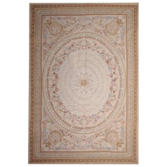 Aubusson Style Rug, Needlepoint Handwoven Chinese Rug, French