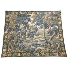 French Aubusson Style Verdure Tapestry with Rivers, Ducks, and Foliage