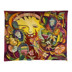 "Aubusson Tapestry by H.Gineste ""Drunk Sun"" Woven in Soana Workshop"