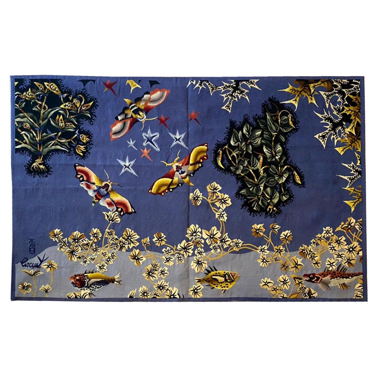 """Aubusson Tapestry by Jean Lurçat """"Moth"""" Woven in the Tabard Frères et Sœurs Work For Sale"""