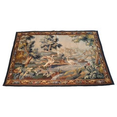 """Aubusson Tapestry """"Pink Flaments"""", 19th Century"""
