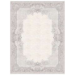 Aubusson Tapisserie Floral Grey - Patterned Designer Hand Knotted Wool Silk Rug