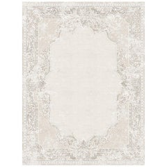 Aubusson Vintage Dusty Beige Hand-Knotted Wool and Bamboo Silk Rug (Small-size)