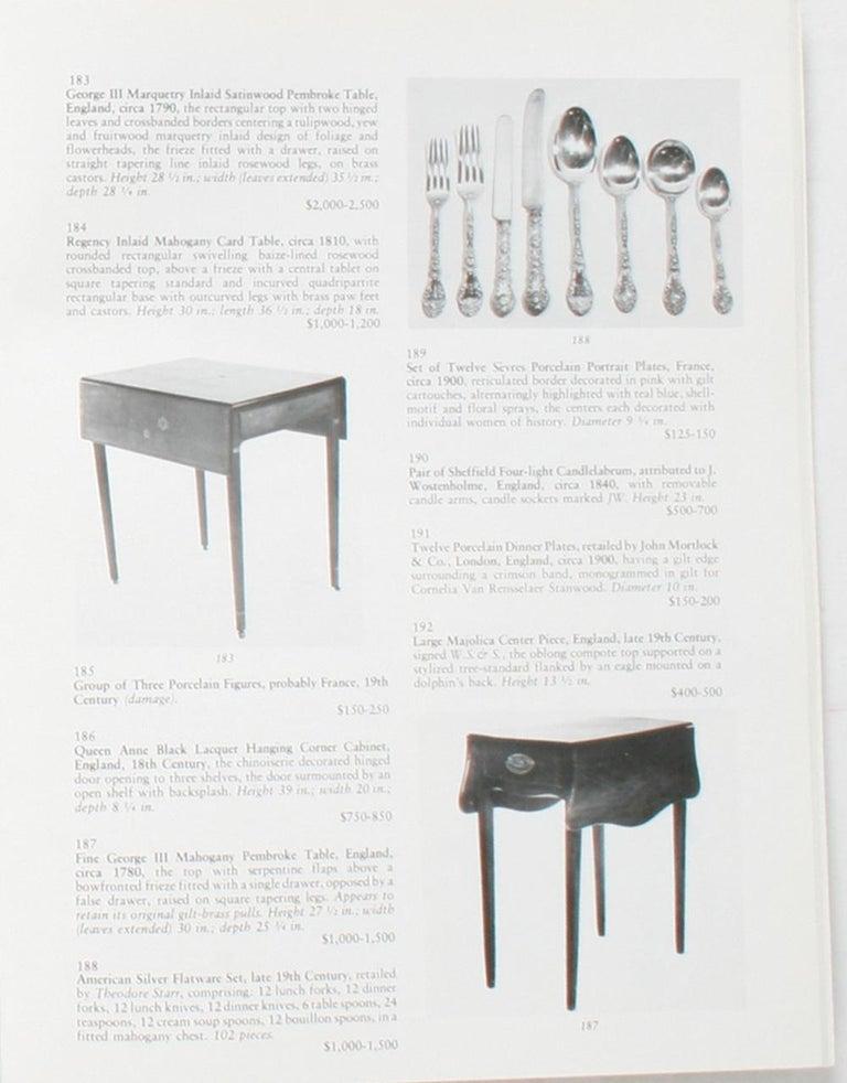 Auction Catalogue for The Collections of Cornelia Van Rensselaer Hartman For Sale 6
