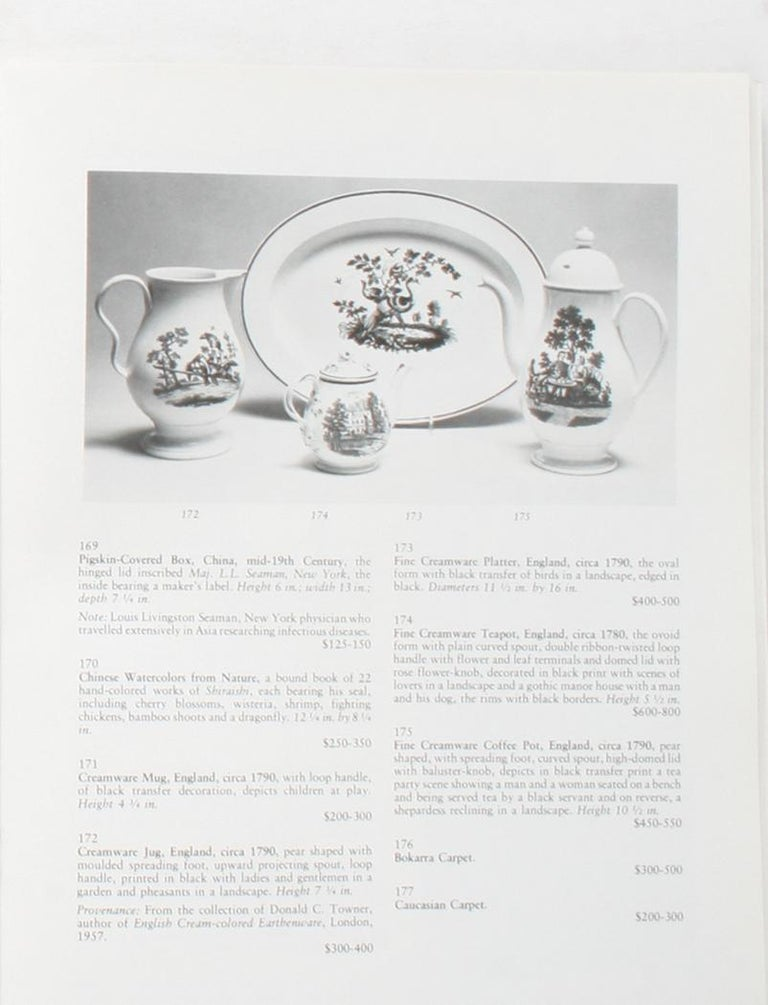 American Auction Catalogue for The Collections of Cornelia Van Rensselaer Hartman For Sale