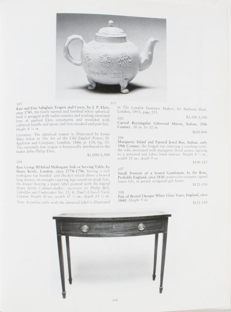 Auction Catalogue for The Collections of Cornelia Van Rensselaer Hartman For Sale 3