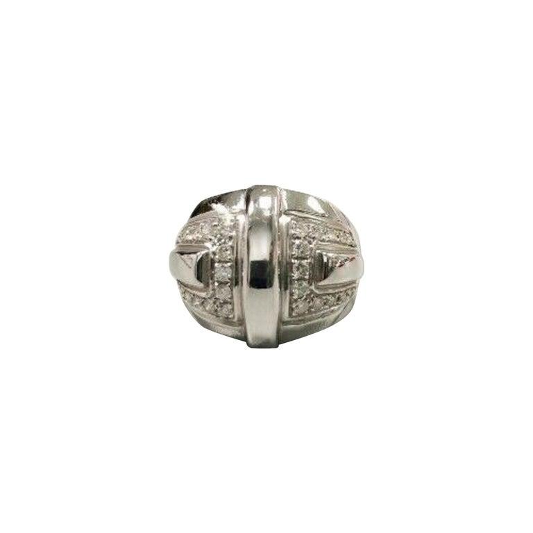 Audemars Piguet 18 Karat White Gold Ladies Large Diamond Ring For Sale