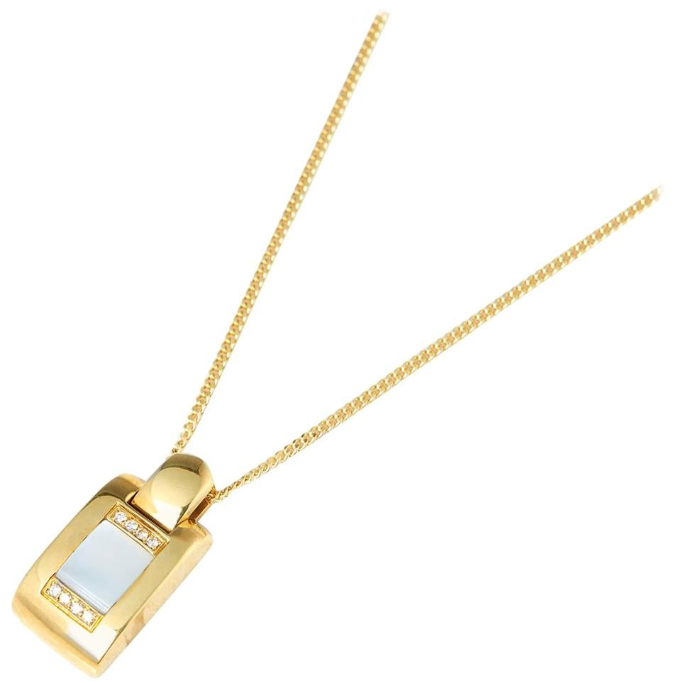Audemars Piguet 18 Karat Yellow Gold Mabe Pearl Diamond Pendant Necklace
