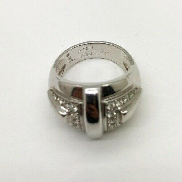 Round Cut Audemars Piguet 18 Karat White Gold Ladies Large Diamond Ring For Sale