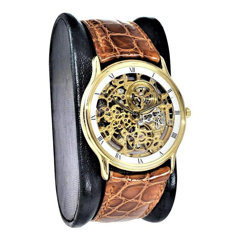 FACTORY / HOUSE: Audemars Piguet  STYLE / REFERENCE: Skeleton / Automatic METAL / MATERIAL: 18kt Yellow Gold CIRCA / YEAR: 1980's DIMENSIONS / SIZE: 38mm x 35mm MOVEMENT / CALIBER: Automatic Winding / 36 Jewels / 21C DIAL / HANDS: Original Roman