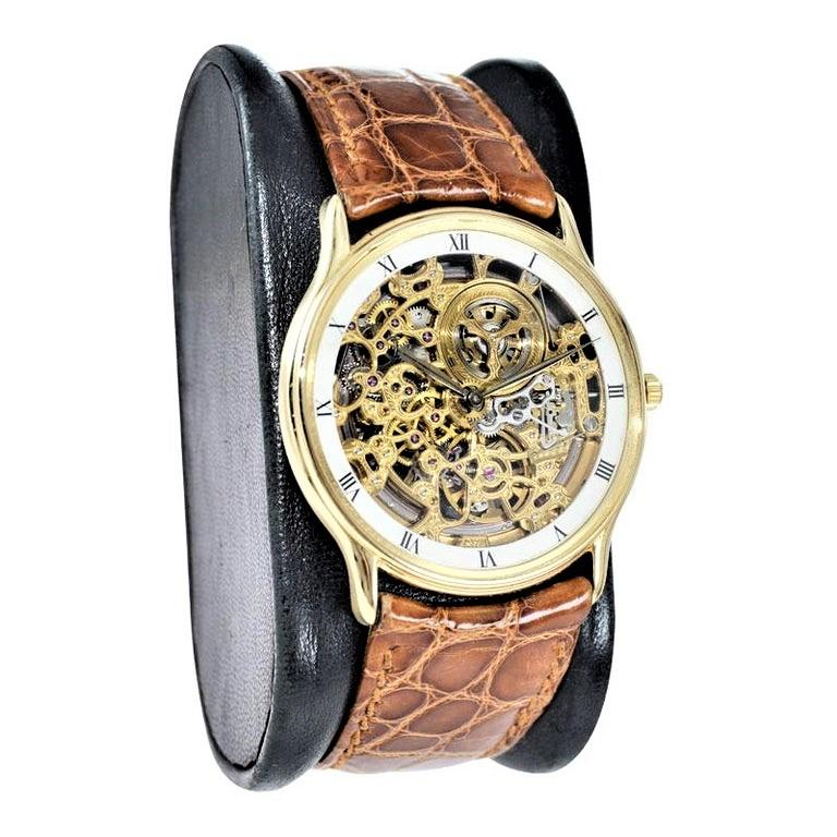 Audemars Piguet 18 Karat Gold Automatic Skeleton Watch Original Strap and Buckle In Excellent Condition For Sale In Venice, CA