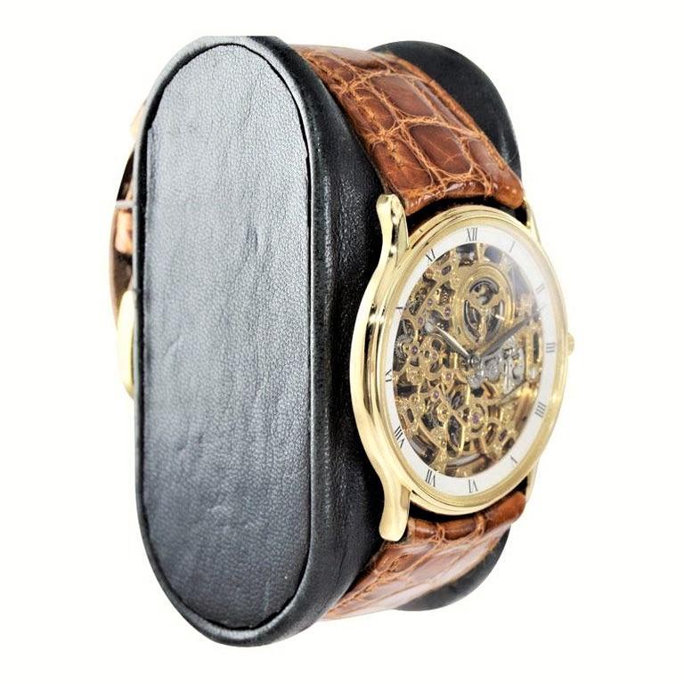 Women's or Men's Audemars Piguet 18 Karat Gold Automatic Skeleton Watch Original Strap and Buckle For Sale