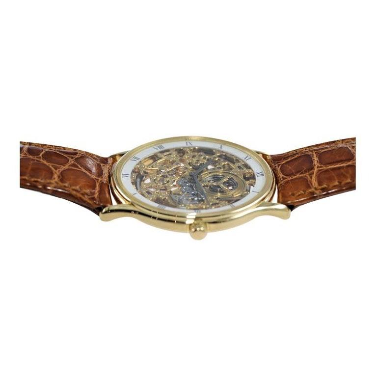 Audemars Piguet 18 Karat Gold Automatic Skeleton Watch Original Strap and Buckle For Sale 1