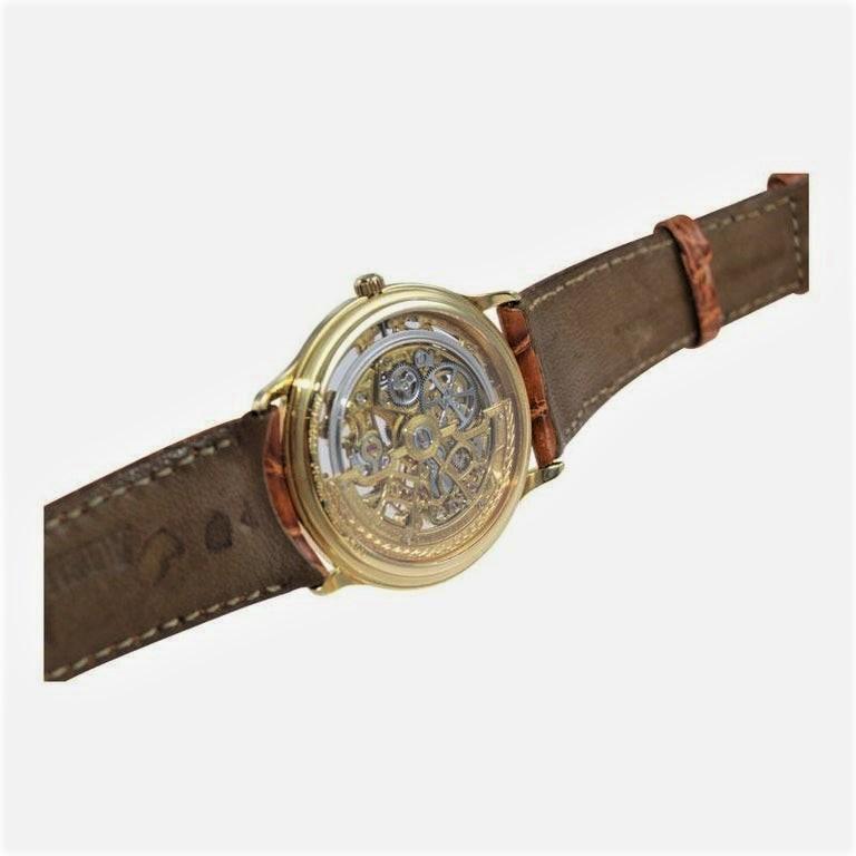 Audemars Piguet 18 Karat Gold Automatic Skeleton Watch Original Strap and Buckle For Sale 2