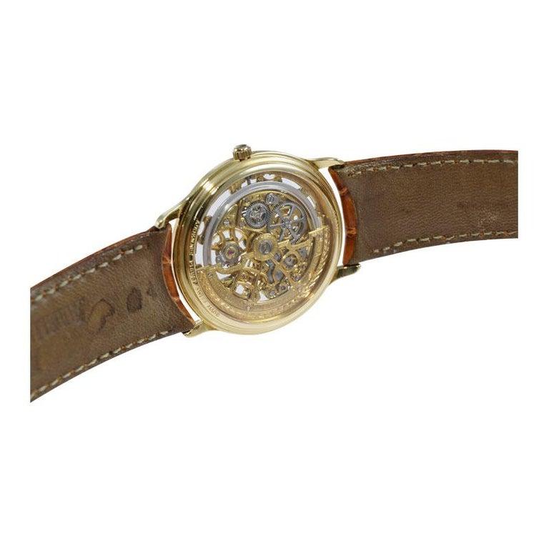 Audemars Piguet 18 Karat Gold Automatic Skeleton Watch Original Strap and Buckle For Sale 4