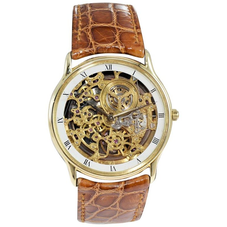 Audemars Piguet 18 Karat Gold Automatic Skeleton Watch Original Strap and Buckle For Sale