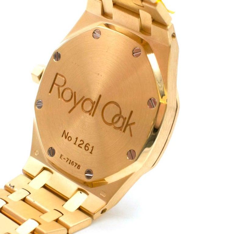 Women's or Men's Audemars Piguet 37mm Octagonal Royal Oak 18K Yellow Gold Watch For Sale