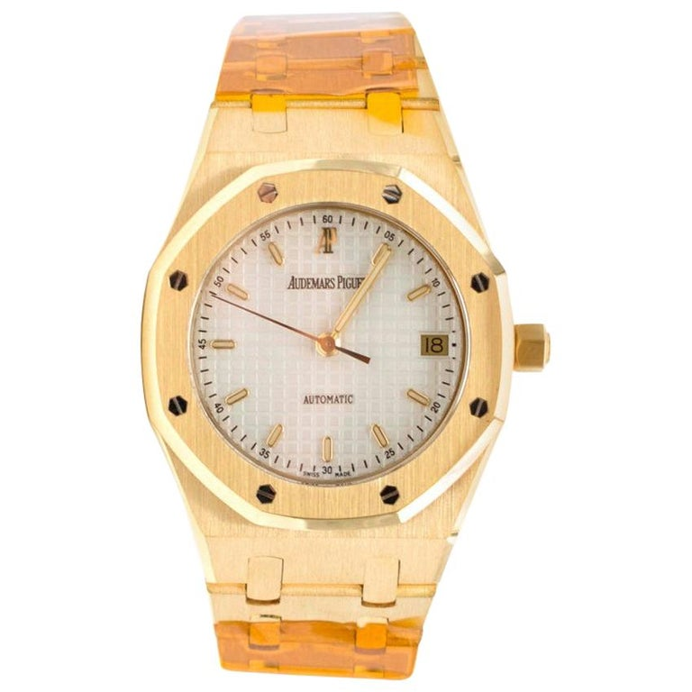 Audemars Piguet 37mm Octagonal Royal Oak 18K Yellow Gold Watch For Sale
