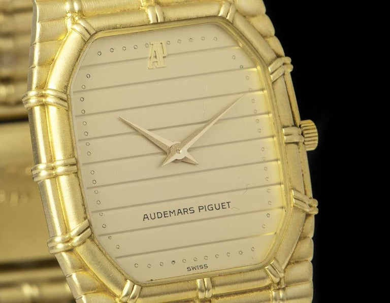 Audemars Piguet Bamboo Vintage Gold Champagne Tapestry Dial Quartz Wristwatch In Excellent Condition In London, GB
