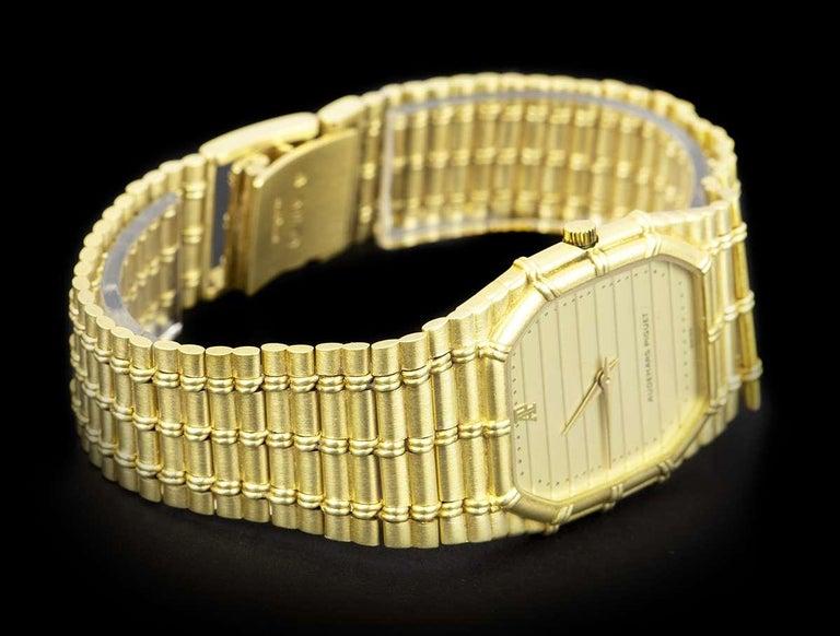 Men's Audemars Piguet Bamboo Vintage Gold Champagne Tapestry Dial Quartz Wristwatch
