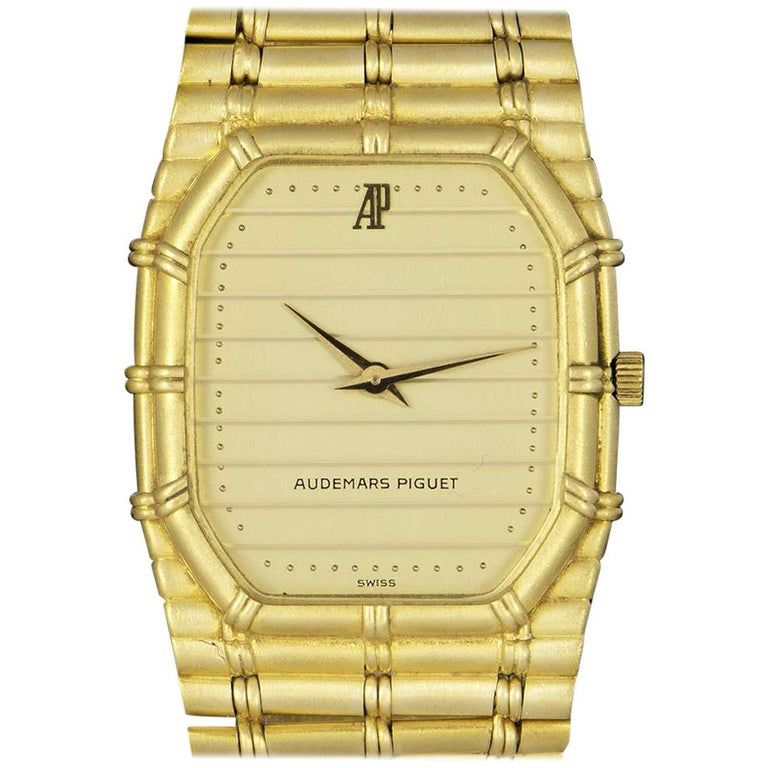 Audemars Piguet Bamboo Vintage Gold Champagne Tapestry Dial Quartz Wristwatch
