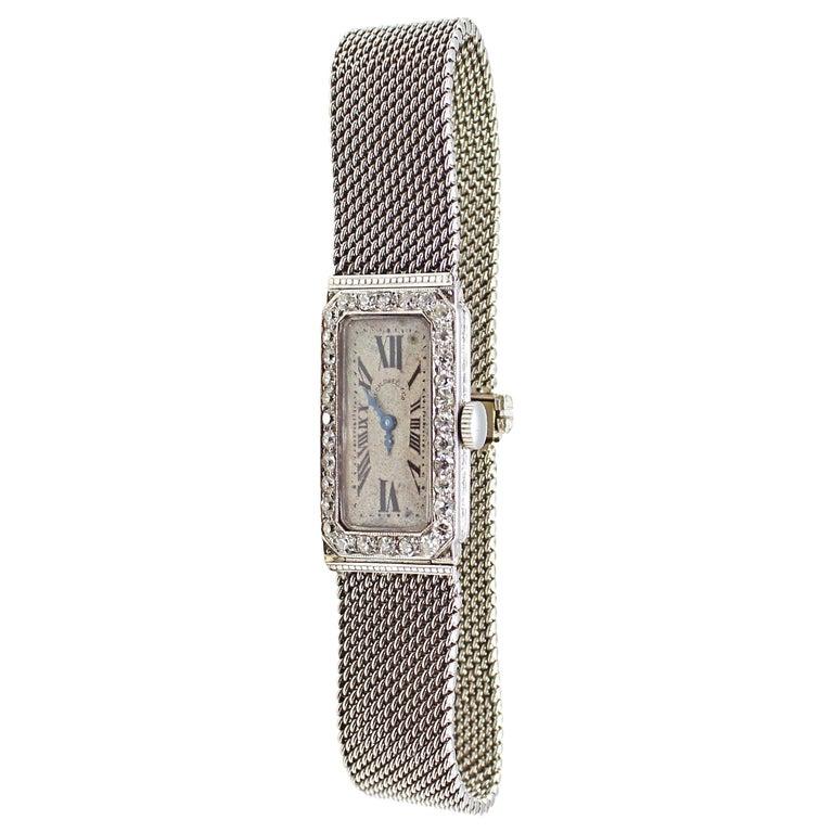 Audemars Piguet by J.E. Caldwell Ladies Platinum Diamond Manual Wristwatch For Sale