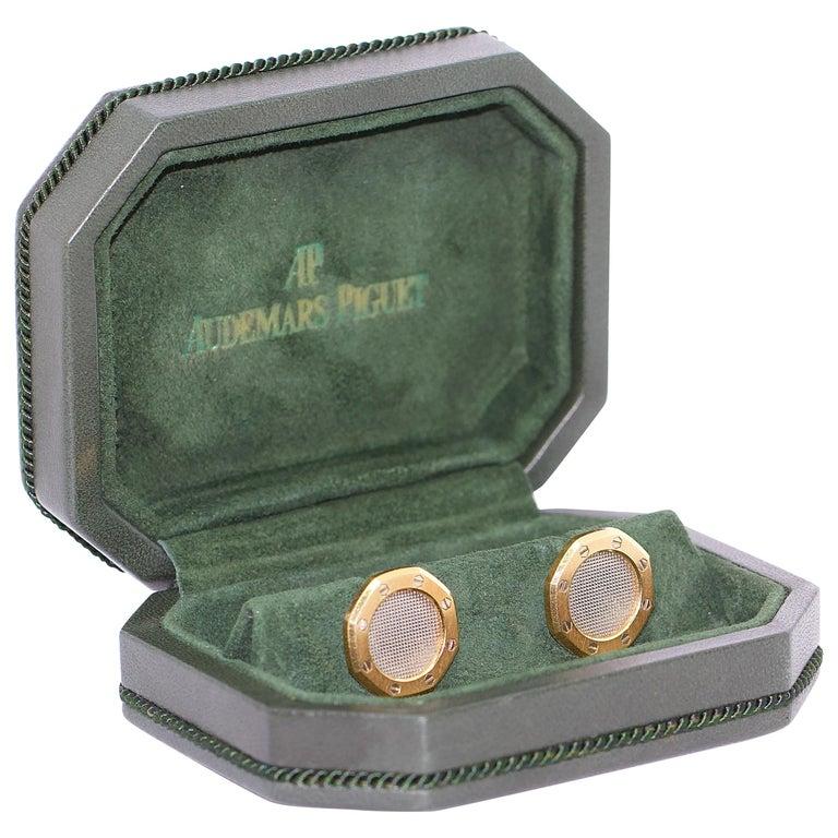 Audemars Piguet Cufflinks in Original Box, Gerald Genta's Royal Oak Design For Sale