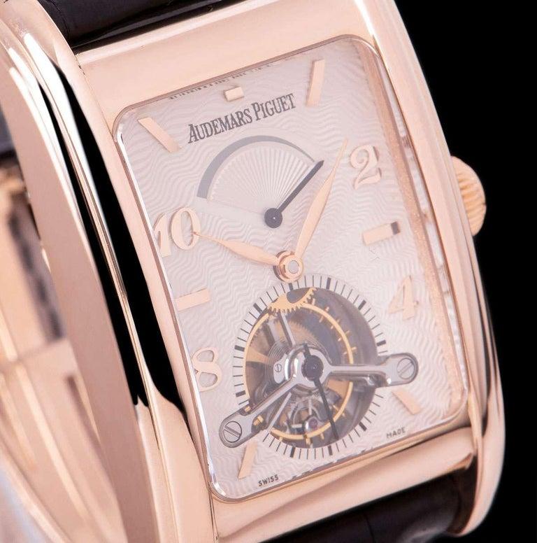 Audemars Piguet Edward Piguet Tourbillon Gents Rose Gold Silver Dial B&P In Excellent Condition For Sale In London, GB