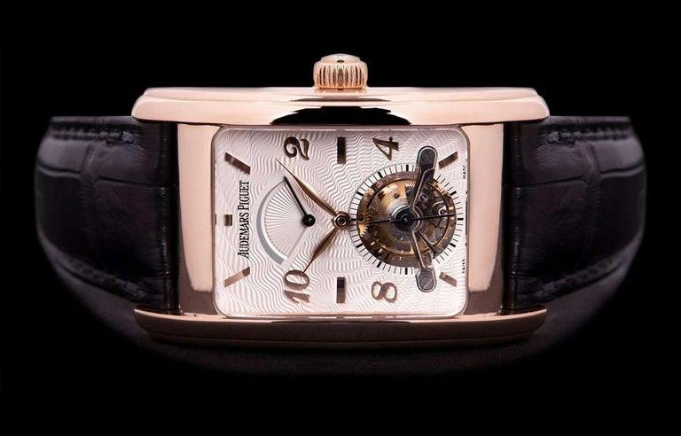 Men's Audemars Piguet Edward Piguet Tourbillon Gents Rose Gold Silver Dial B&P For Sale