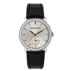 """Audemars Piguet """"Jules Audemars"""" White Gold Diamond Bezel manual Wristwatch"""