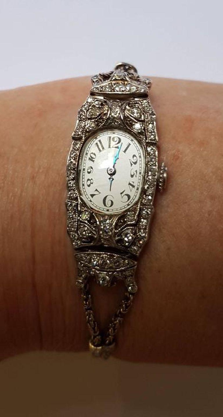 Audemars Piguet Ladies Art Deco Platinum Silver Diamond Wristwatch In Excellent Condition For Sale In Berlin, DE
