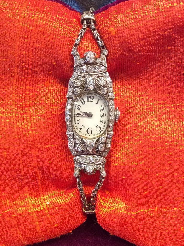 Audemars Piguet Ladies Art Deco Platinum Silver Diamond Wristwatch For Sale 1