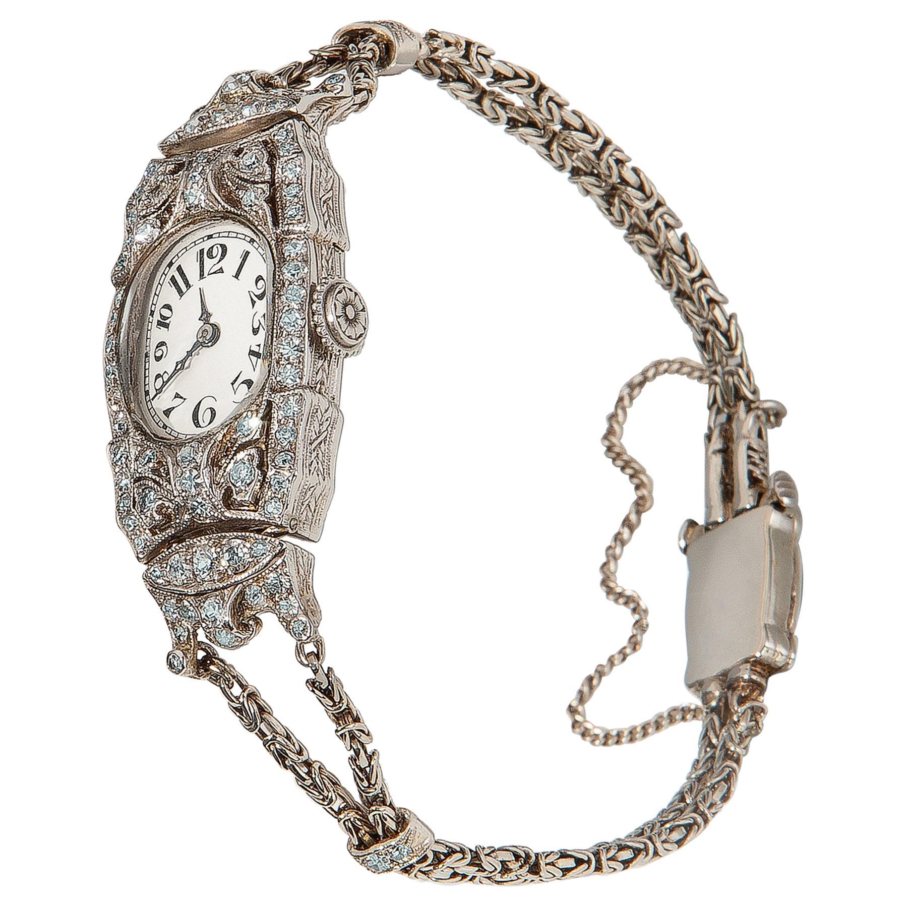 Audemars Piguet Ladies Art Deco Platinum Silver Diamond Wristwatch