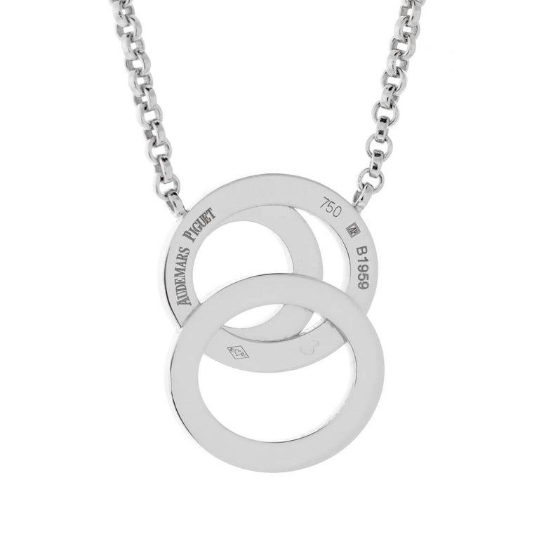 An iconic Audemars Piguet diamond necklace featuring the timeless Millenary design in 18k white gold adorned with the finest round brilliant cut diamonds in 18k white gold.  Sku: 875