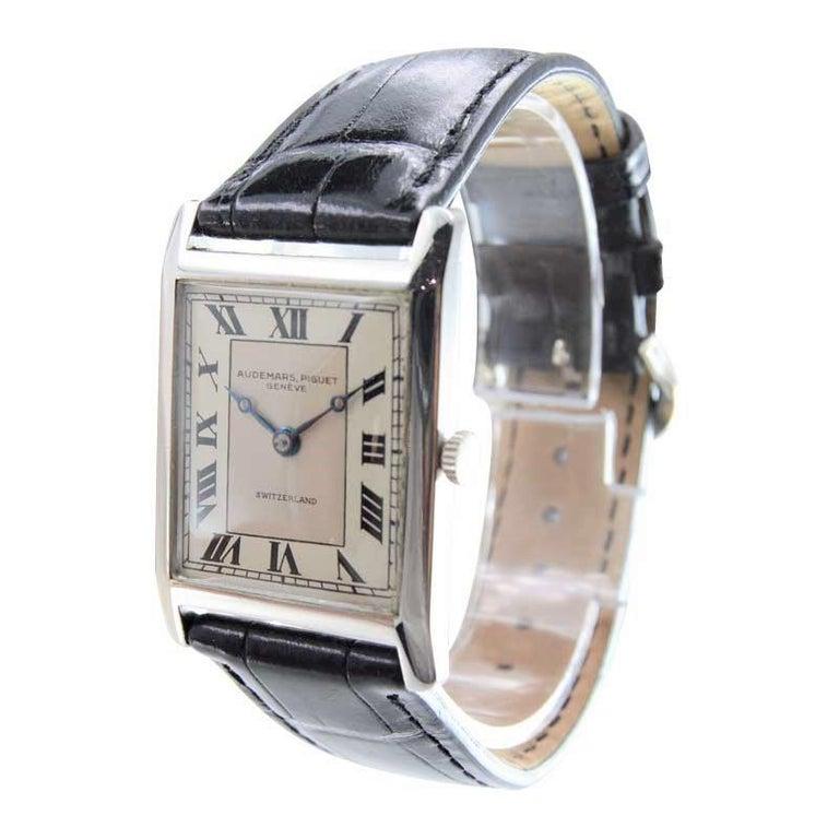 Audemars Piguet Platinum Handmade Art Deco Watch, circa 1930s In Excellent Condition For Sale In Long Beach, CA