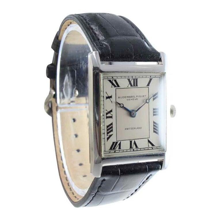 Women's or Men's Audemars Piguet Platinum Handmade Art Deco Watch, circa 1930s For Sale