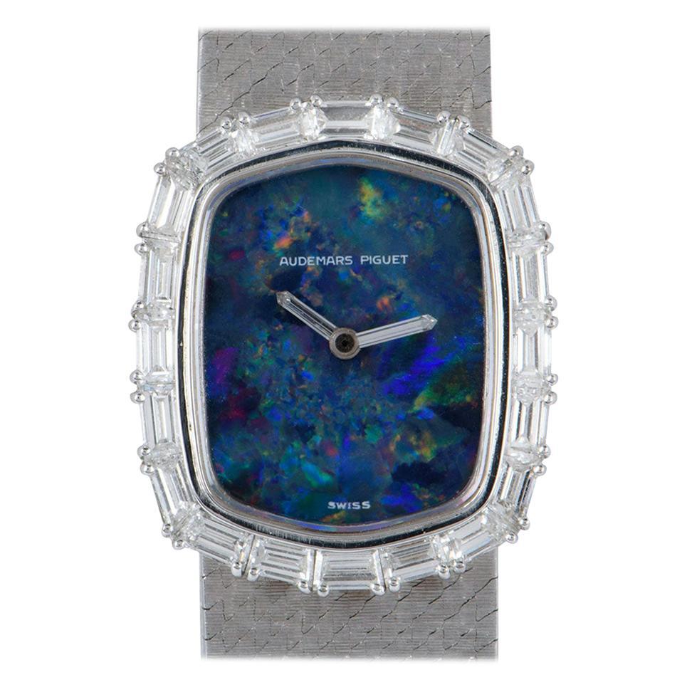 Audemars Piguet Rare Dress Watch 18 Karat White Gold Blue Opal Dial Diamond Set