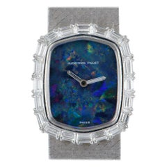 Audemars Piguet Rare Dress Watch 18 Karat White Gold Blue Opal Dial Diamond Set