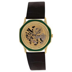 Audemars Piguet Rare Octagonal Green Enamel Skeleton Dial Watch