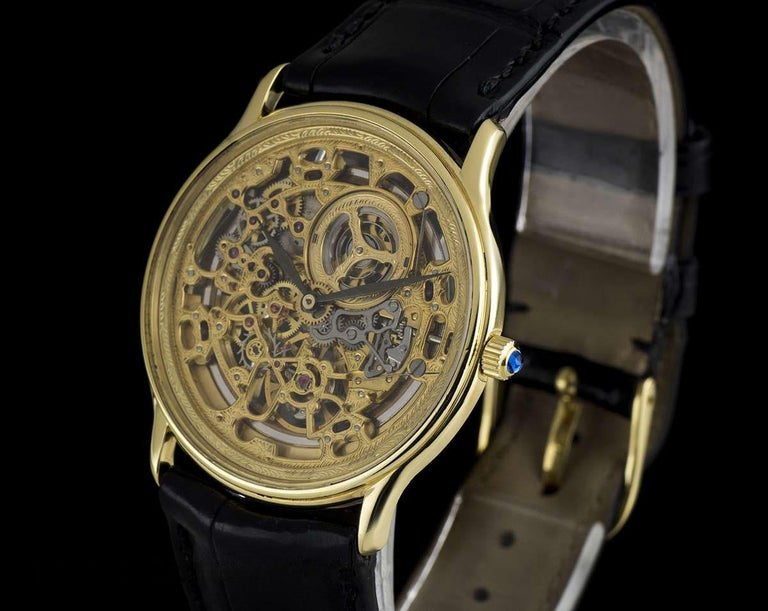 Audemars Piguet Rare Yellow Gold Skeleton Dial Automatic Watch In Excellent Condition For Sale In London, GB