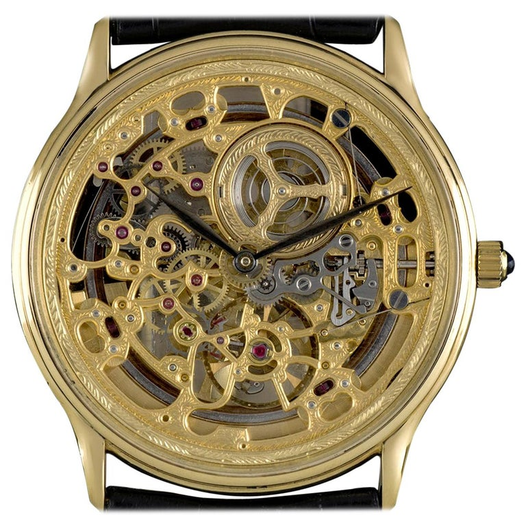 Audemars Piguet Rare Yellow Gold Skeleton Dial Automatic Watch For Sale