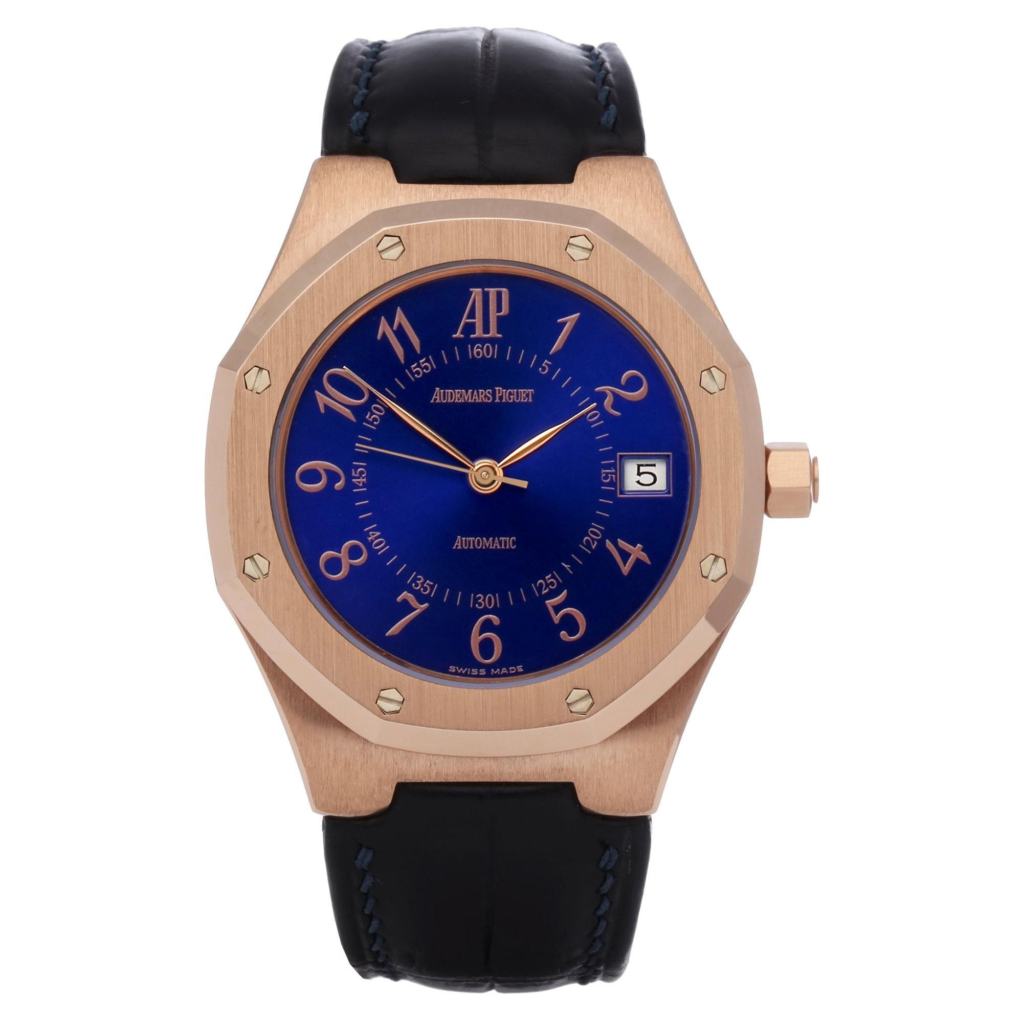 Audemars Piguet Royal Oak 14800OR Men's Rose Gold Royal Blue Watch