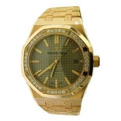 Audemars Piguet Royal Oak 18 Karat Rose Gold Factory Diamond Bezel Watch