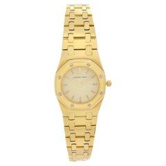 Audemars Piguet Royal Oak 18k Yellow Gold Cream Dial Ladies Quartz Watch 6007BA