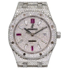 Audemars Piguet Royal Oak 25 Carat Diamond Pave Stainless Steel Watch