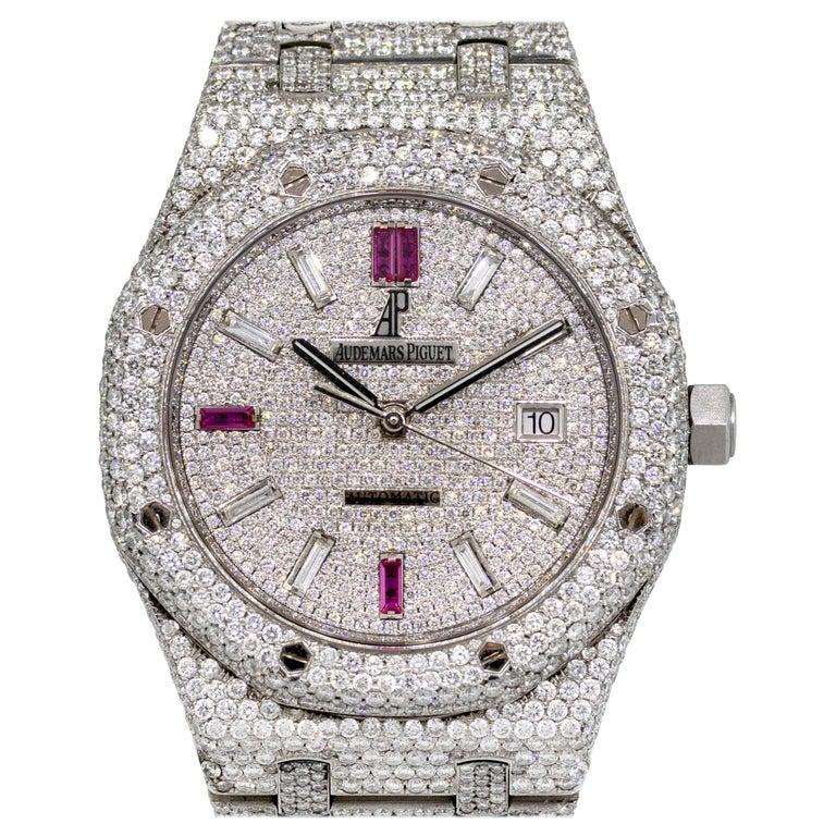 Audemars Piguet Royal Oak 25 Carat Diamond Pave Stainless Steel Watch For Sale