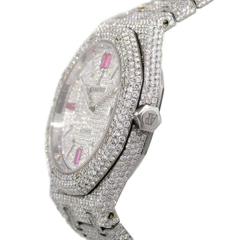 Round Cut Audemars Piguet Royal Oak 25 Carat Diamond Pave Stainless Steel Watch For Sale