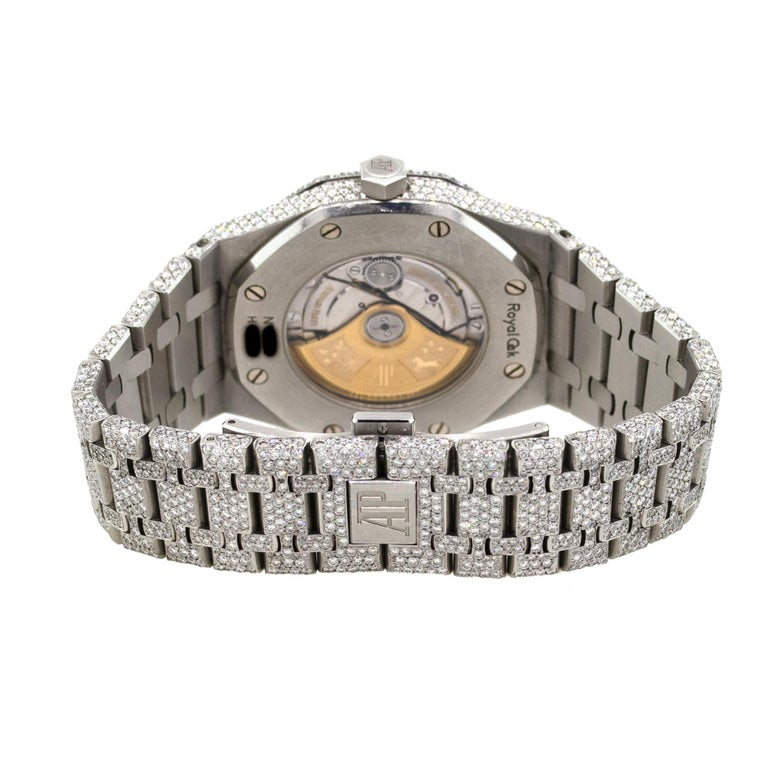 Audemars Piguet Royal Oak 25 Carat Diamond Pave Stainless Steel Watch In Excellent Condition For Sale In Boca Raton, FL